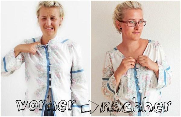 Vorher-Nachher: Kimono-Bluse
